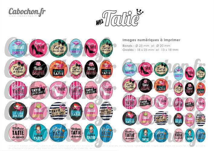 Ma Tatie ☆ 60 Images Digitales / Numériques RONDES 25 et 20 mm et OVALES 18x25 et 13x18 mm Page d'images cabochons