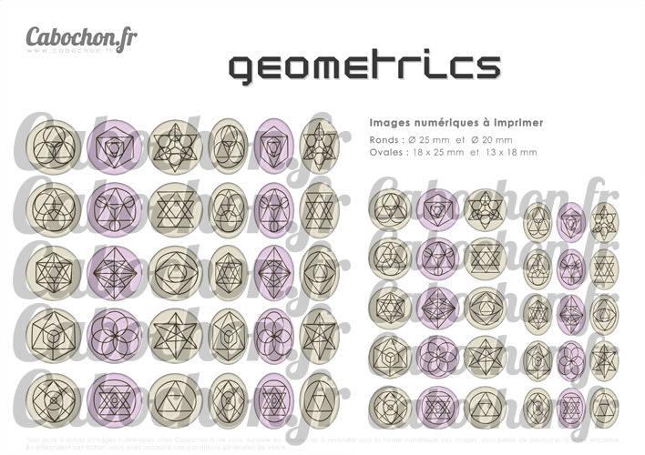 Geometrics lll ☆ 45 Images Digitales Numériques OVALES 30x40 18x25 et 13x18 mm Page cabochons