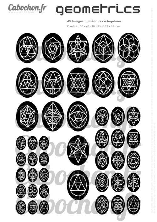 Geometrics ll ☆ 45 Images Digitales Numériques OVALES 30x40 18x25 et 13x18 mm Page cabochons