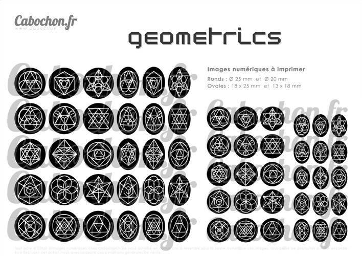 Geometrics ll ☆ 60 Images Digitales / Numériques RONDES 25 et 20 mm et OVALES 18x25 et 13x18 mm Page d'images cabochons