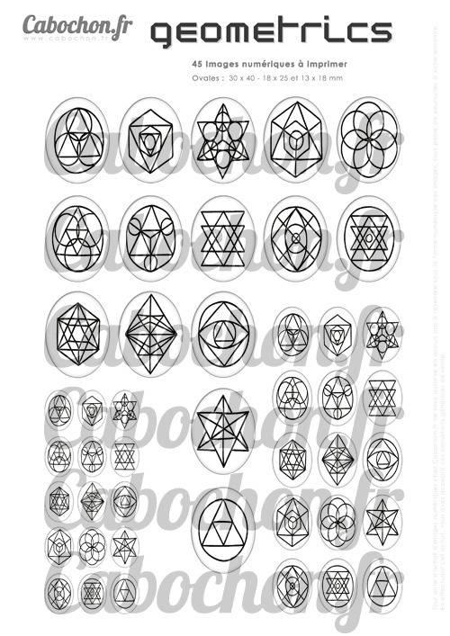 Geometrics  ☆ 45 Images Digitales Numériques OVALES 30x40 18x25 et 13x18 mm Page cabochons