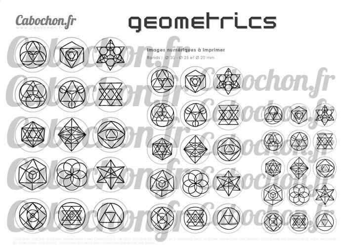 Geometrics  ☆ 45 Images Digitales Numériques RONDES 30 25 et 20 mm Page de collage digital pour cabochons