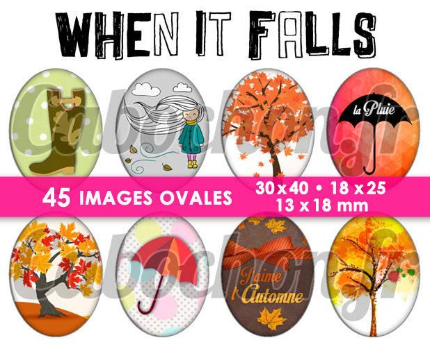 When It Falls - L'automne ☆ 45 Images Digitales Numériques OVALES 30x40 18x25 et 13x18 mm Page cabochons Retro Moustache ☆ 45 Images