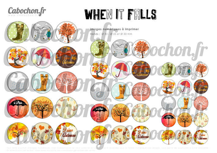 When It Falls - L'automne ☆ 45 Images Digitales Numériques RONDES 30 25 et 20 mm Page de collage digital pour cabochons