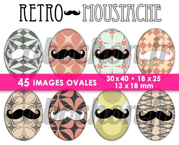 Retro Moustache ☆ 45 Images Digitales Numériques OVALES 30x40 18x25 et 13x18 mm Page cabochons