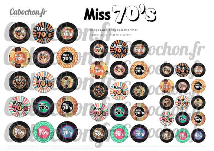 Miss 70's - Seventies ☆ 45 Images Digitales Numériques RONDES 30 25 et 20 mm disque vinyle 70 Page cabochons bijoux miroirs