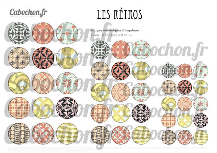 Les Rétros lll ☆ 45 Images Digitales Numériques RONDES 30 25 et 20 mm Page de collage digital pour cabochons