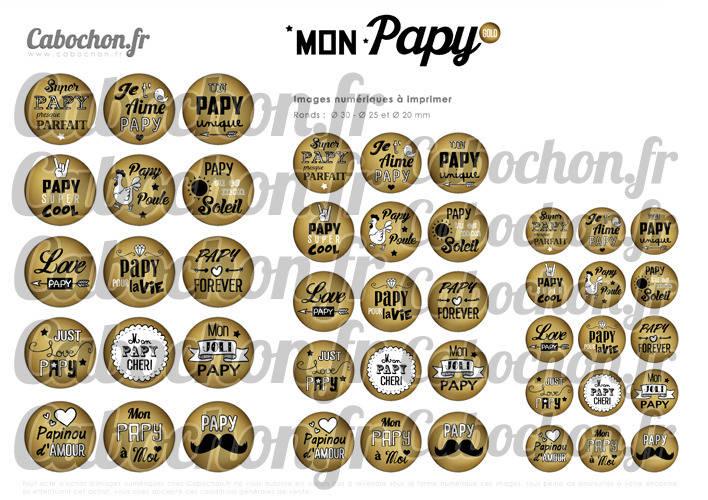 Mon Papy Gold ☆ 45 Images Digitales Numériques RONDES 30 25 et 20 mm Page de collage digital pour cabochons