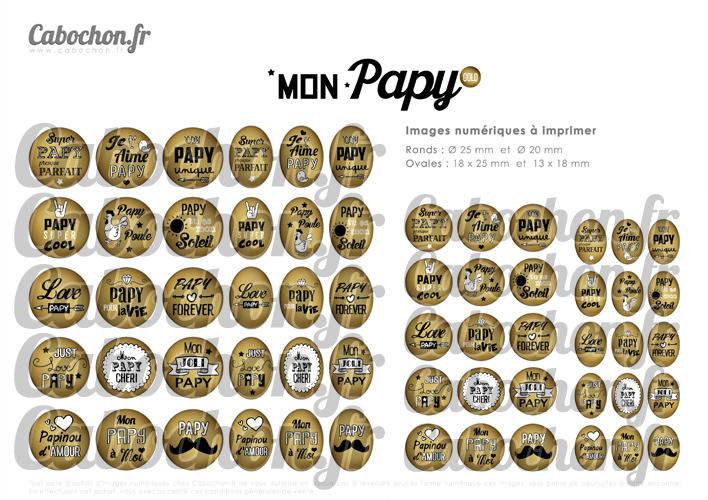 Mon Papy Gold ☆ 60 Images Digitales Numériques RONDES 25 et 20 mm et OVALES 18x25 et 13x18 mm Page d'images pour cabochons à imprimer
