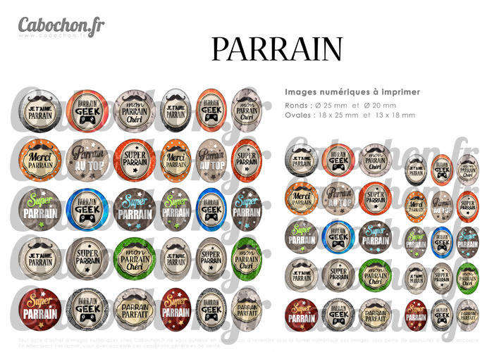 Pour toi Parrain ☆ 60 Images Digitales Numériques RONDES 25 et 20 mm et OVALES 18x25 et 13x18 mm Page d'images pour cabochons