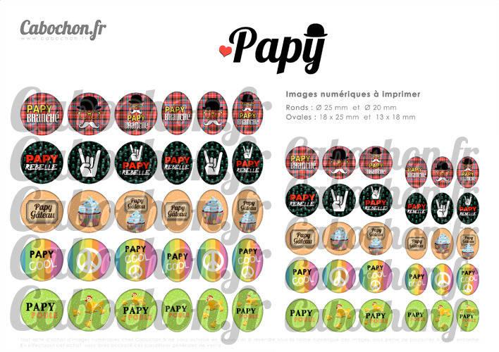 Papy ☆ 60 Images Digitales Numériques RONDES 25 et 20 mm et OVALES 18x25 et 13x18 mm Page d'images pour cabochons