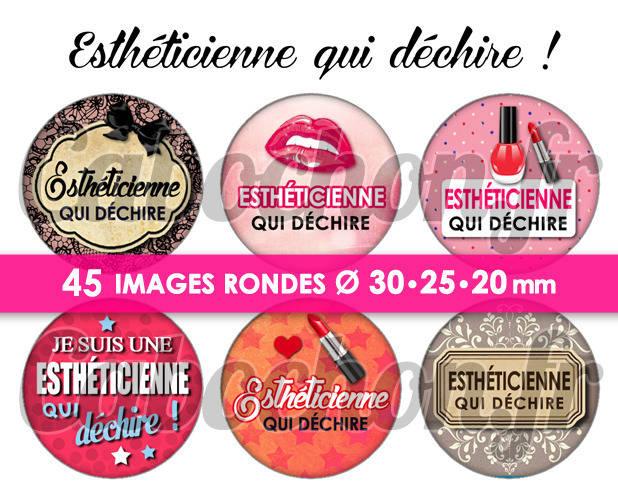 Esthéticienne qui déchire ! ☆ 45 Images Digitales Numériques RONDES 30 25 et 20 mm Page de collage digital pour cabochons