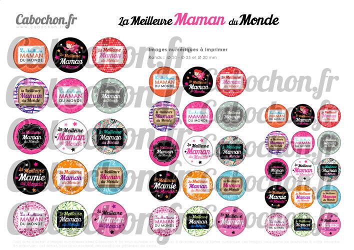 La Meilleure Maman du Monde ☆ 45 Images Digitales Numériques RONDES 30 25 et 20 mm Page de collage digital pour cabochons