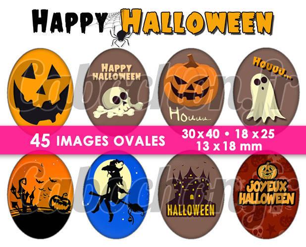 Happy Halloween ll ☆ 45 Images Digitales Numériques OVALES 30x40 18x25 et 13x18 mm Page cabochons