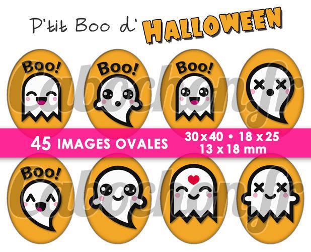 P'tit Boo d'Halloween  ☆ 45 Images Digitales Numériques OVALES 30x40 18x25 et 13x18 mm Page cabochons