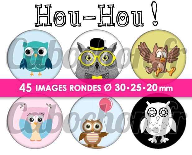 Hou-Hou !  ☆ 45 Images Digitales Numériques RONDES 30 25 et 20 mm Page de collage digital pour cabochons