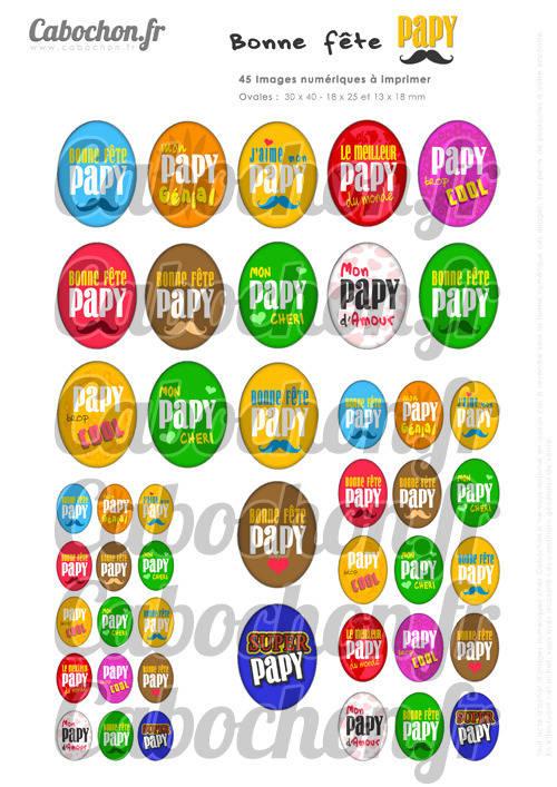 Bonne Fête Papy lll ☆ 45 Images Digitales Numériques OVALES 30x40 18x25 et 13x18 mm Page cabochons