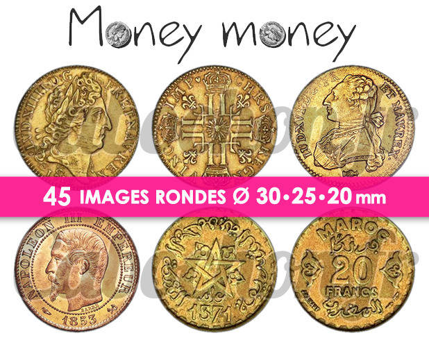 Money Money ☆ 45 Images Digitales Numériques RONDES 30 25 et 20 mm Page de collage digital pour cabochons