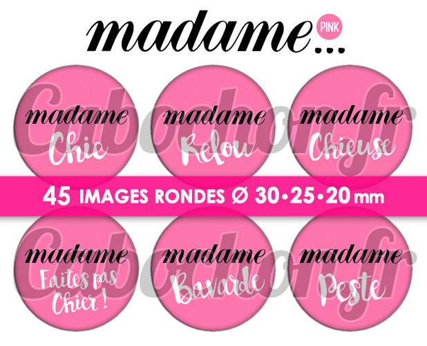 Madame ... Pink ☆ 45 Images Digitales Numériques RONDES 30 25 et 20 mm Page de collage digital pour cabochons