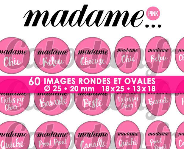 Madame ... Pink ☆ 60 Images Digitales Numériques RONDES 25 et 20 mm et OVALES 18x25 et 13x18 mm Page d'images pour cabochons