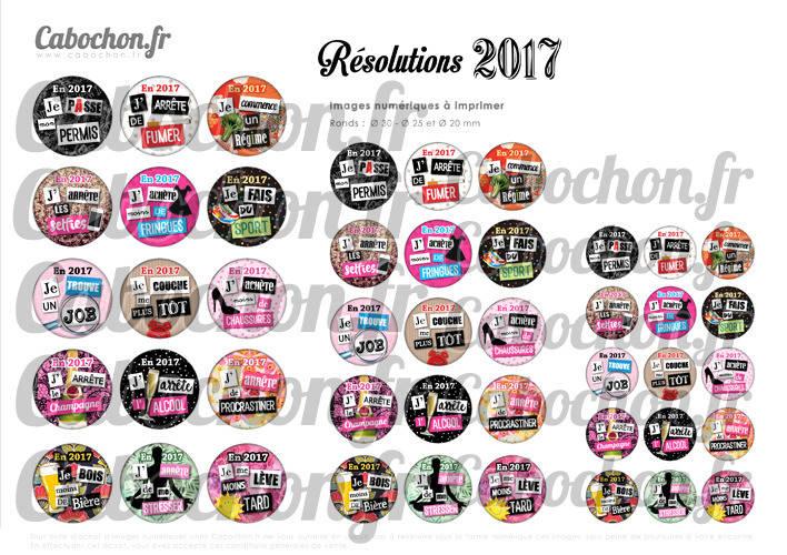 Résolutions 2017 ☆ 45 Images Digitales Numériques RONDES 30 25 et 20 mm Page de collage digital pour cabochons