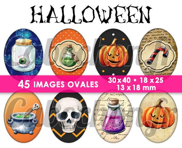 Halloween Vl  ☆ 45 Images Digitales Numériques OVALES 30x40 18x25 et 13x18 mm Page cabochons