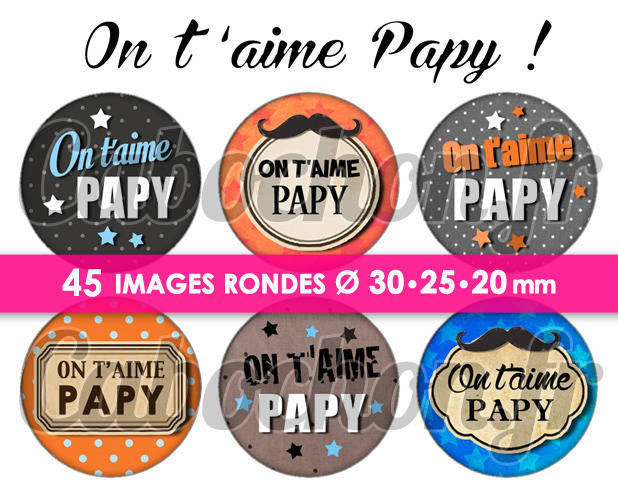 On t'aime Papy  - Page de collage digital cabochons - 60 images à imprimer