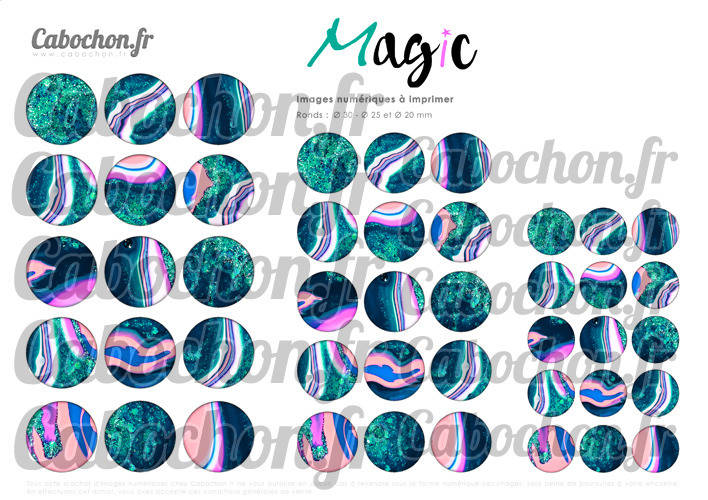 Magic ☆ 45 Images Digitales Numériques RONDES 30 25 et 20 mm Page de collage digital pour cabochons