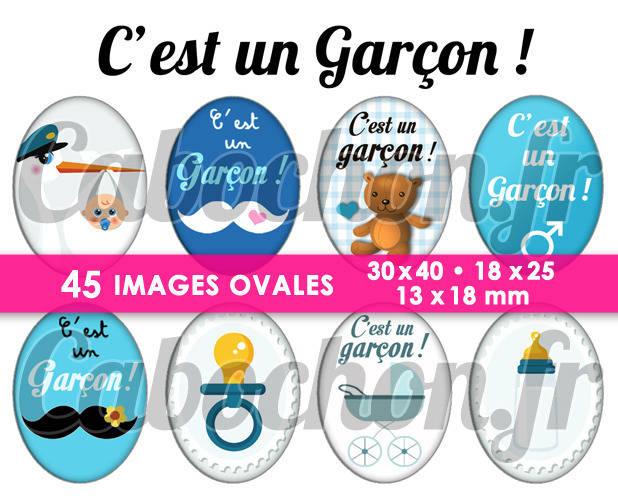 C'est un Garçon ! ☆ 45 Images Digitales Numériques OVALES 30x40 18x25 et 13x18 mm Page cabochons