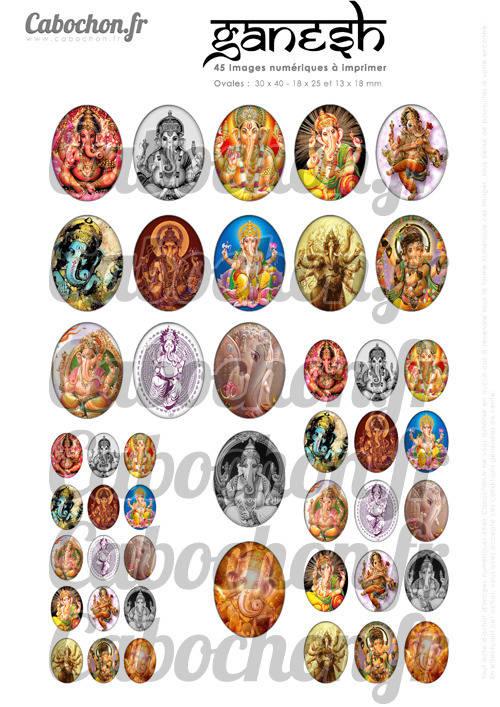 Ganesh ☆ 45 Images Digitales Numériques OVALES 30x40 18x25 et 13x18 mm Page cabochons