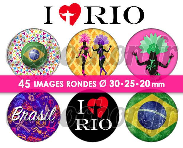 I love Rio ☆ 45 Images Digitales Numériques RONDES 30 25 et 20 mm Page de collage digital pour cabochons