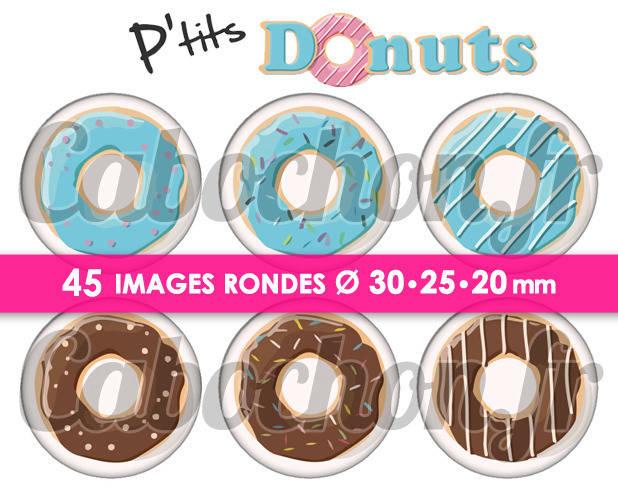 P'tits Donuts ☆ 45 Images Digitales Numériques RONDES 30 25 et 20 mm Page de collage digital pour cabochons