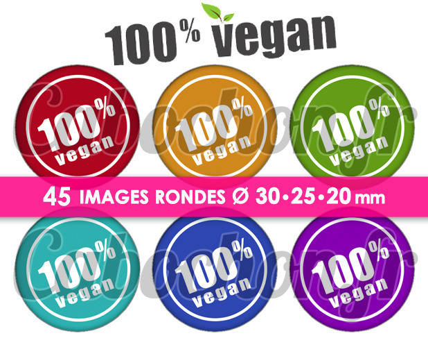 100% Vegan ll ☆ 45 Images Digitales Numériques RONDES 30 25 et 20 mm Page de collage digital pour cabochons