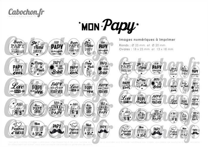Mon Papy ☆ 60 Images Digitales Numériques RONDES 25 et 20 mm et OVALES 18x25 et 13x18 mm Page d'images pour cabochons à imprimer