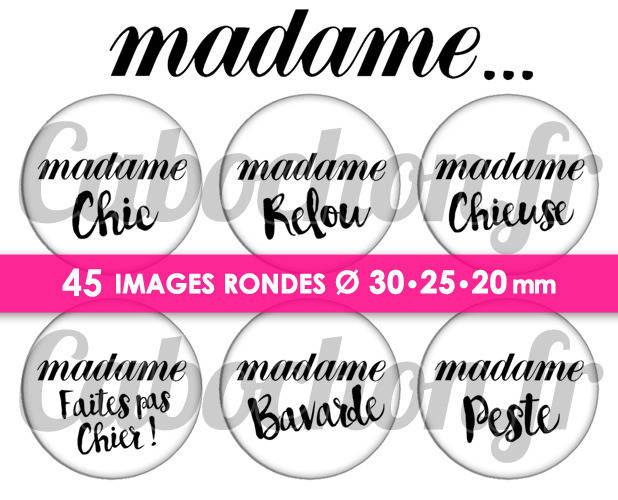 Madame ... ☆ 45 Images Digitales Numériques RONDES 30 25 et 20 mm Page de collage digital pour cabochons