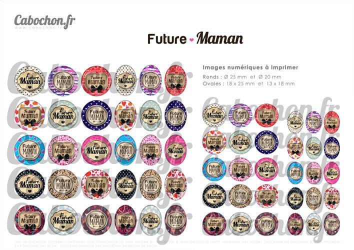 Future Maman ☆ 60 Images Digitales Numériques RONDES 25 et 20 mm et OVALES 18x25 et 13x18 mm Page d'images pour cabochons