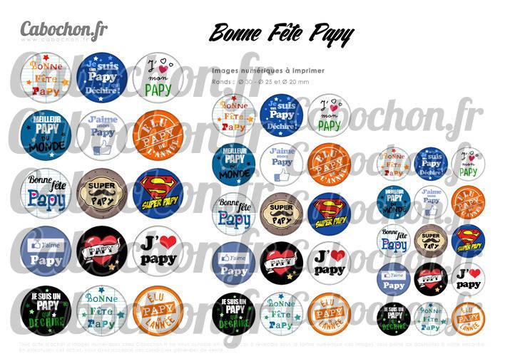 Bonne Fête Papy ☆ 45 Images Digitales Numériques RONDES 30 25 et 20 mm Page de collage digital pour cabochons