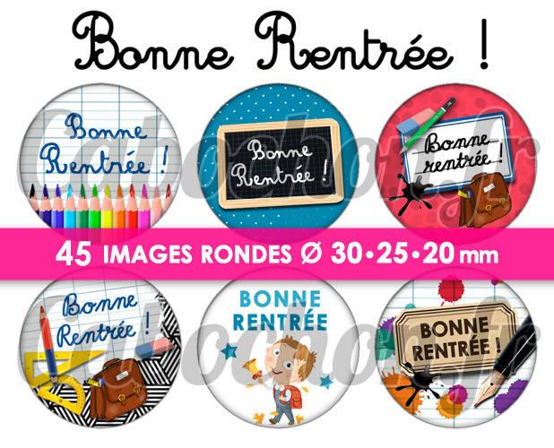 Bonne Rentrée ! ☆ 45 Images Digitales Numériques RONDES 30 25 et 20 mm Page de collage digital pour cabochons
