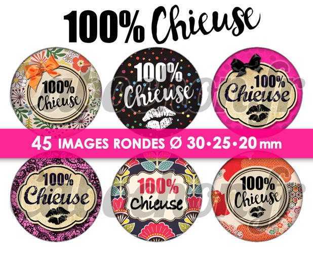 100% Chieuse ☆ 45 Images Digitales Numériques RONDES 30 25 et 20 mm Page de collage digital pour cabochons