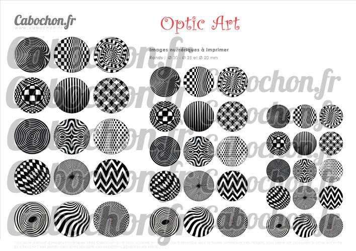Optic Art ☆ 45 Images Digitales Numériques RONDES 30 25 et 20 mm Page de collage digital pour cabochons