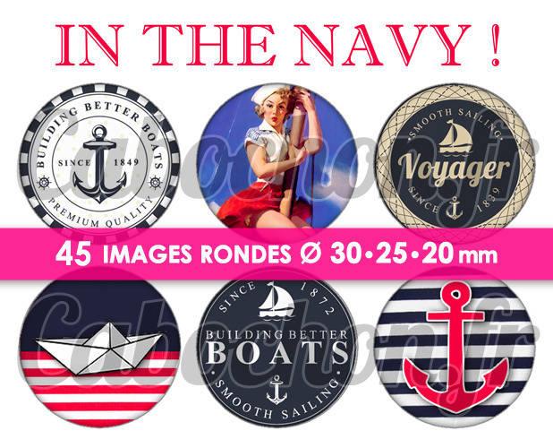 In the Navy ! ☆ 45 Images Digitales Numériques RONDES 30 25 et 20 mm Page de collage digital pour cabochons