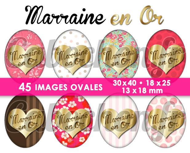Marraine en Or ☆ 45 Images Digitales Numériques OVALES 30x40 18x25 et 13x18 mm Page cabochons