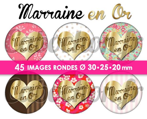 Marraine en Or ☆ 45 Images Digitales Numériques RONDES 30 25 et 20 mm Page de collage digital pour cabochons