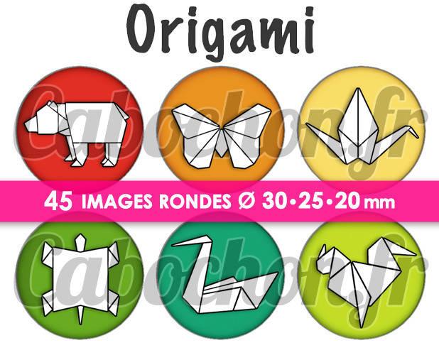 Origami lll ☆ 45 Images Digitales Numériques RONDES 30 25 et 20 mm Page de collage digital pour cabochons