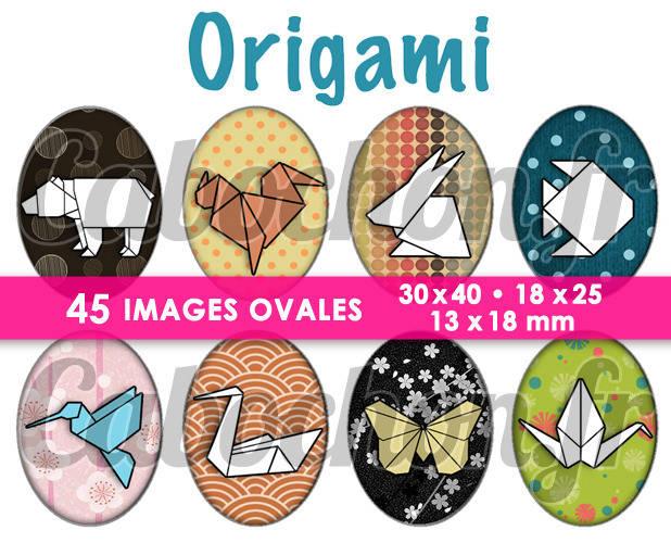 Origami ll ☆ 45 Images Digitales Numériques OVALES 30x40 18x25 et 13x18 mm Page cabochons