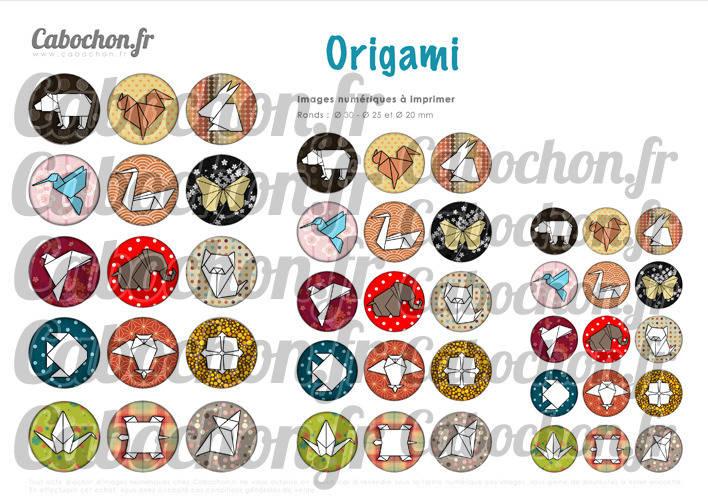 Origami ll ☆ 45 Images Digitales Numériques RONDES 30 25 et 20 mm Page de collage digital pour cabochons