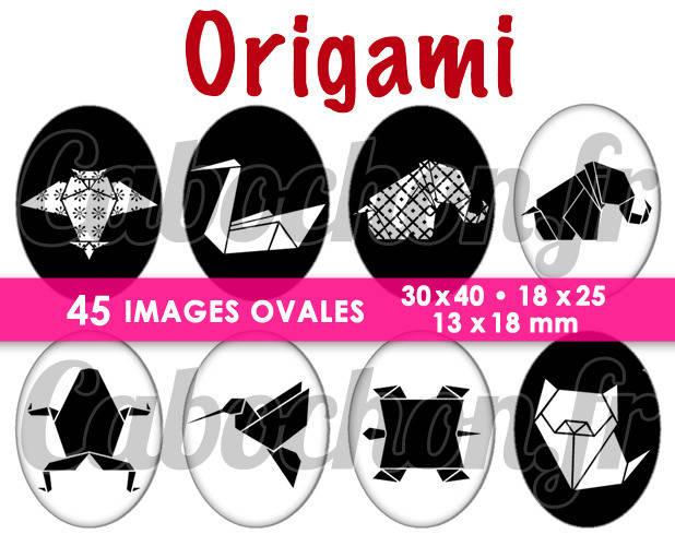Origami ☆ 45 Images Digitales Numériques OVALES 30x40 18x25 et 13x18 mm Page cabochons