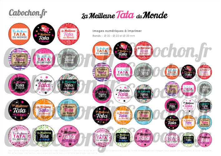 La Meilleure Tata du Monde ☆ 45 Images Digitales Numériques RONDES 30 25 et 20 mm Page de collage digital pour cabochons