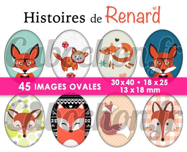 Histoires de Renard ll ☆ 45 Images Digitales Numériques OVALES 30x40 18x25 et 13x18 mm Page cabochons