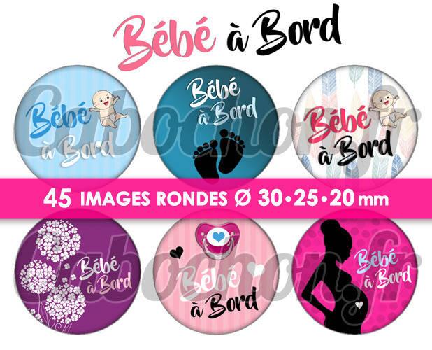 Bébé à bord ☆ 45 Images Digitales Numériques RONDES 30 25 et 20 mm Page de collage digital pour cabochons